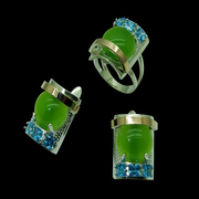 Серьги серебряные с золотыми вставками и цветными камнями ОПТОМ
