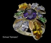 Кольца  серебряные с золотыми вставками и цветными камнями ОПТОМ