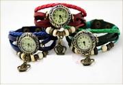 Оригинальный женский кожаный браслет с часами